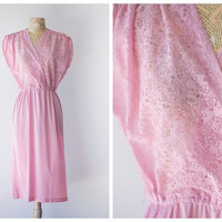 CLEARANCE SALE - Vintage 1970's Pink Dress - Girly Sheer Lace Top Dress - Pretty in Pink Summer Dress by Charles Caroll