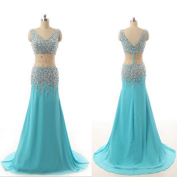 Two Piece Prom Dresses 2017 V-Neck Sleeveless Floor Length Long Party Gown Formal Dress
