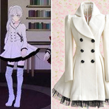Weiss Costume, Weiss Schnee (White) Cosplay Coat, RWBY Costume