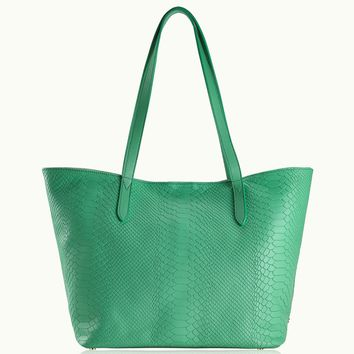 GiGi New York Teddie Tote Island Green Embossed Python Leather