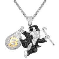 Iced Out Black Monopoly Man with Bitcoin Money Bag Pendant