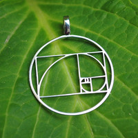 Fibonacci Golden ratio pendant (15/16 inch) - Stainless Steel