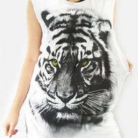 TIGER Face Animal Shirt Two Tone White&Red Striped Shirt Long Tank Top Dress Women Animal Sleeveless Vest Tunic Singlet Tiger Shirt Size M L
