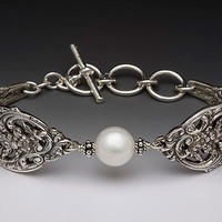 Silver Spoon Vintage Jewelry: Spoon and Fork Jewlery: English Lace Spoon Handle Bracelet with Pearl