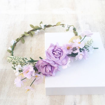 Beautiful lilac and white pastel flowers bridal flower crown - wedding - bride - flower girl - vintage - festival