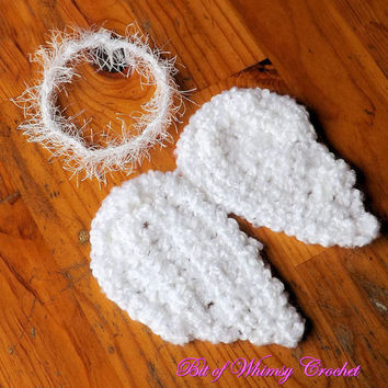 Crochet Angel wings Halo,newborn photography prop baby photo prop