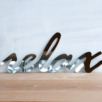 Wall Decor Mirror Word Relax - handwriting, typography