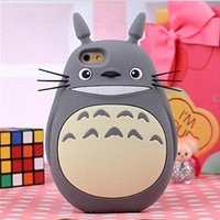 "Topit Iphone 6 Plus 5.5"" 3D Lovely Cute Cartoon Totoro Soft Silicone Protective Case For Apple iphone 6 Plus 5.5 Inch Release on 2014 + 1 Pcs Wristband(Gray)"