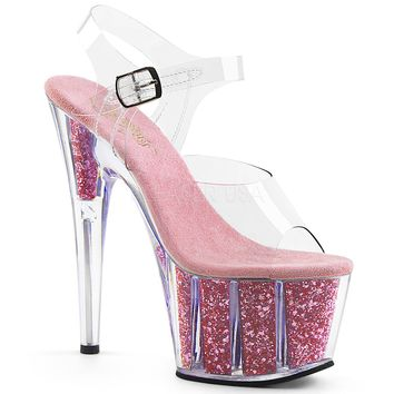 Platform Ankle Strap Sandal With Glitter Inserts Stripper Shoes