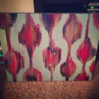 ikat inspired canvas painting