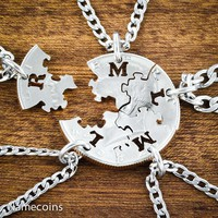 5 puzzle piece family necklaces, Hand cut Coin