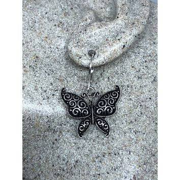 Vintage Handmade Silver Butterfly Earrings