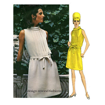 1960s VOGUE DRESS PATTERN MoD Cocktail Evening Day Dresses Sleeveless Galitzine Vogue 1934 Couturier Design Bust 32.5 Womens Sewing Patterns