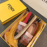 FENDI Brown canvas espadrilles