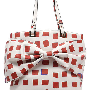 Bow-tastic Red Squares with Bow Detail Handbag