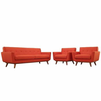 Engage Armchairs and Sofa Set of 3, Atomic Red