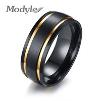 Modyle 2018 Fashion Men Jewelry Punk Rock  Black and Gold Color 316L Stainless Steel  Rings For Men