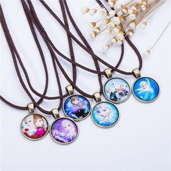 DCCKU62 Cute Cartoon character Jewelry Glass Cabochon  Brown Leather Chain Necklace Pendants Fashion Collares Women Girl Children Gift