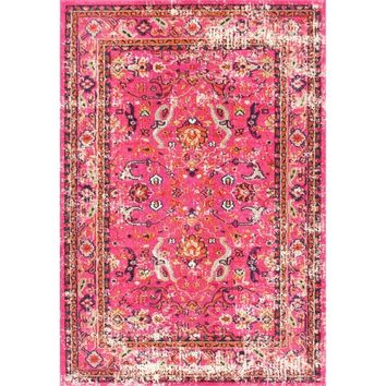 nuLOOM Traditional Vintage Floral Distressed Pink Rug (5'3 x 7'7) | Overstock.com Shopping - The Best Deals on 5x8 - 6x9 Rugs