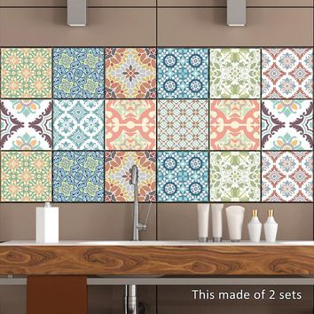 10pcs/set Retro Vintage Tiles Stickers Bathroom Kitchen Washable Waterproof PVC Wall Stickers Home Decor Art Wall Decals