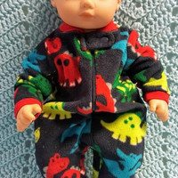 "Baby doll clothes ""Dinosaurs Galore"" (15 inch) Will fit Bitty Baby® Cabbage Patch® boy fleece sleeper pajamas L12"