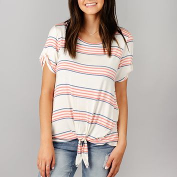 Striped Top with Twisted Sleeve