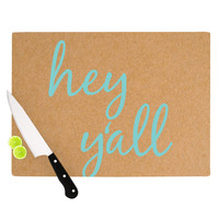 "KESS Original ""Hey Y'all"" Brown Blue Cutting Board"
