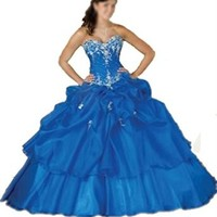 Hhdress Blue wedding dress Taffeta Quinceanera dress Bridesmaid Evening