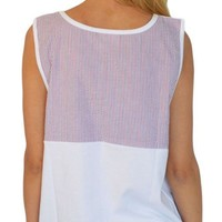 Americana Seersucker Tank in White by Lauren James - FINAL SALE