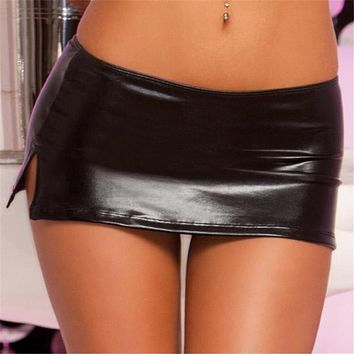 Free Shipping Sexy Black PVC Wet Look Faux Latex Micro Mini Skirt with G-String Party Club Stripper Fetish Exotic Pole Dancewear