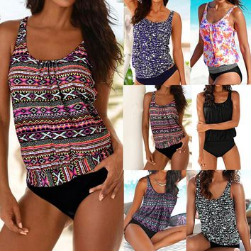 Aztec Flower Solid Color Collection Tankini Women Swimwear Bathing Suit Swimsuits