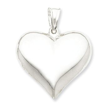Sterling Silver Rhodium-plated Polished Puffed Heart Pendant