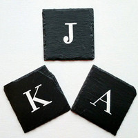 Hand painted set of four initial coasters, natural slate coasters, personalized housewarming gift, customizable wedding present.