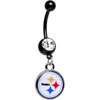 Licensed Clear Gem Black NFL Pittsburgh Steelers Dangle Belly Ring