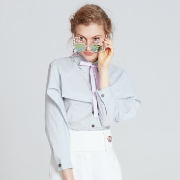 Stand Collar Button Up Detailing Long Sleeves Dural Layers Shirt