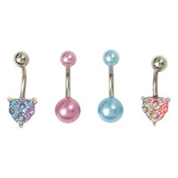 14G Steel Pink & Blue Iridescent Heart Navel Barbell 4 Pack