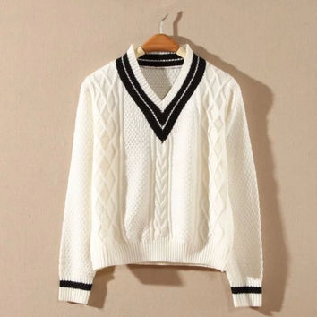 Striped V-Neck Knitted Sweater