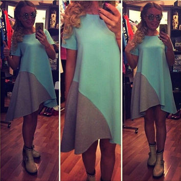 Color Block Asymmetrical Dress in Yellow or Green
