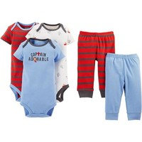 Child of Mine by Carter's Newborn Baby Boy Bodysuit and Pants 5-Piece Set - Walmart.com