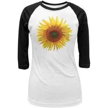 ESBGQ9 Giant Sunflower Juniors 3/4 Sleeve Raglan T Shirt