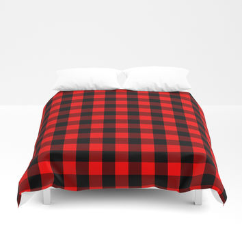 Classic Red and Black Buffalo Check Plaid Tartan Duvet Cover by podartist
