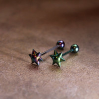 Spike Design Barbell Tongue Ring - Body Jewelry - Tongue Piercing Jewelry - Conch Bar - Replacement Balls