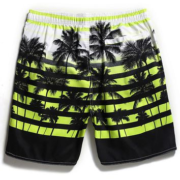 Waterproof Quick-dry Beach Short Pants Breathable Loose Surf Pants Coconut Print Water Sport Large Size Straight Beach Pants