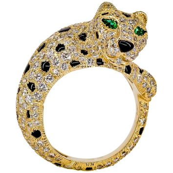 Cartier Panthere Rare Diamond Emerald, Onyx and Gold Ring