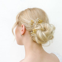 Set of 3 gold leaf hair pin, bridal hair pins, pearl bridal hair pins, gold hair pins, gold leaf hair pins, Wedding Hair Accessories