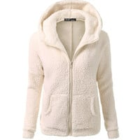 Basic Cream Fleece Jacket