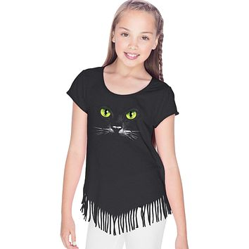 Girls Halloween T-shirt Black Cat Fringe Tee