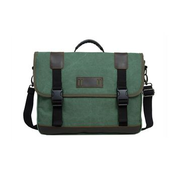 ECOSUSI Vintage 14.7-inch Canvas Messenger Bag Military Shoulder Laptop Bag for Men