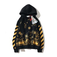 OFF- WHITE autumn and winter new arrow splash ink snowflake plus velvet hoodie