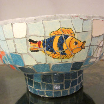 Nautical Mosaic Cement Centerpiece Bowl Hand Crafted Oceanic Coastal Scene